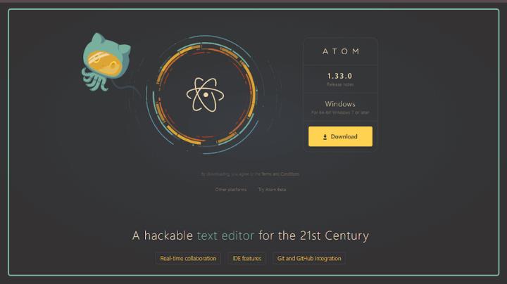 atom full stack web development tool