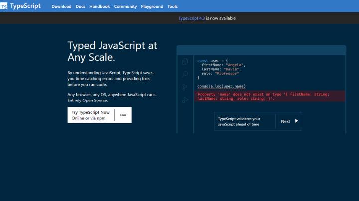 TypeScript full stack web development tool